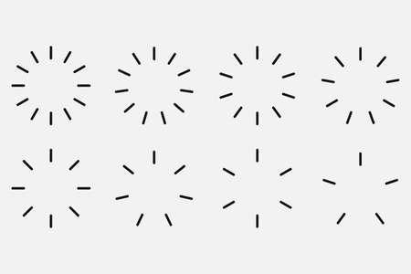 Starburst and sunburst radial effect set. Vector illustration. 向量圖像