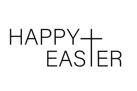 Happy Easter isolated on white background. Vector illustration