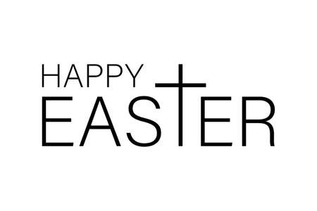 Happy Easter isolated on white background. Vector illustration. Ilustração