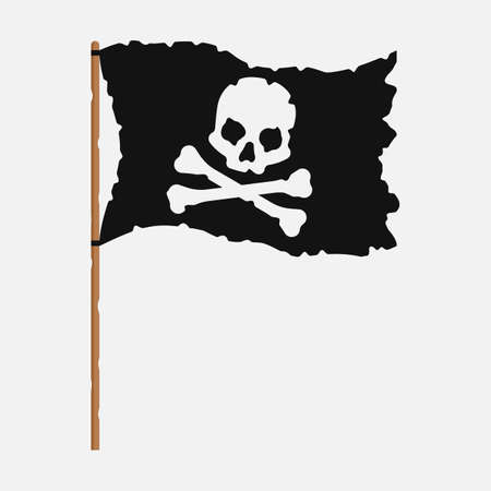 Torn pirate flag with white skull symbol. Vector illustration.
