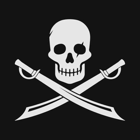 Pirate skull and blades icon. Vector illustration.