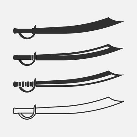 Saber of arabian persian. Curved sword icon. Set of saber icon. Vector illustration.
