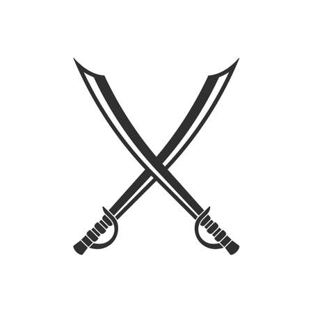 Saber icon. Crossed scimitar swords icon. Two sabers or cavalry swords. Vector illustration.