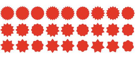 Set sunburst badges. Collection Star label. Different starburst isolated on white background. Vector illustration. Eps 10 向量圖像