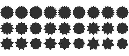 Set sunburst badges. Collection Star label. Different starburst isolated on white background. Vector illustration. Eps 10 Ilustração