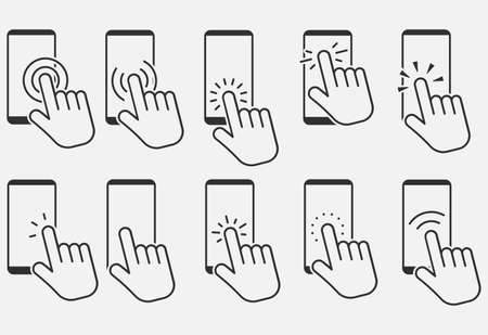 Set of hand touch screen smartphone icon. Click on the smartphone. Vector illustration. Eps 10. Ilustração