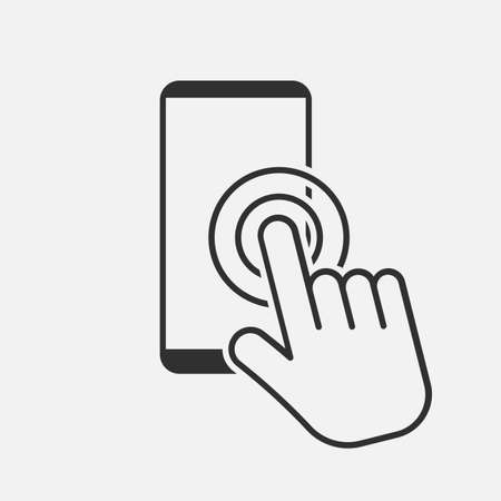 Hand touch screen smartphone icon. Click on the smartphone. Vector illustration. Eps 10.