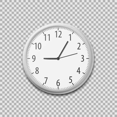 Realistic Simple Round Wall Office Clock. Vector illustration. Eps 10. Ilustração