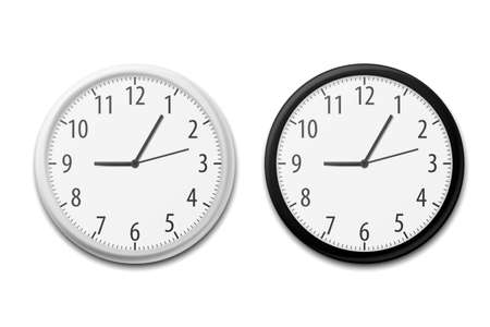 Realistic Simple Round Wall Office Clock. Vector illustration. Eps 10.