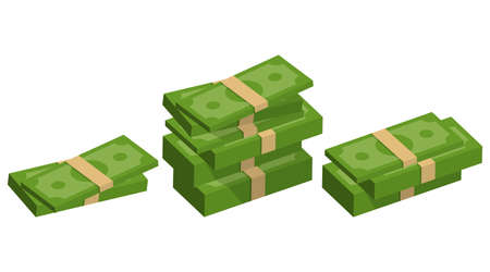 Packing money banknotes. Set of green dollar in various bundles. Vector illustration. Eps 10.