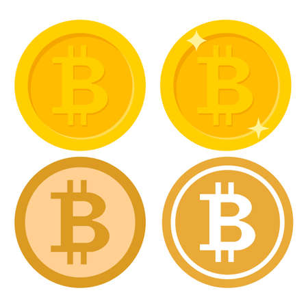 Set of Bitcoin icon. Crypto currency, virtual electronic, internet money. coin logo. Vector illustration. Eps 10. Ilustração