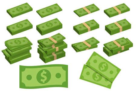 Set a various kind of money. Packing in bundles of bank notes, bills fly. Vector illustration. Eps 10.
