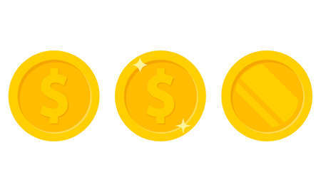 Set of coins icon isolated on white background. Vector illustration. Eps 10.