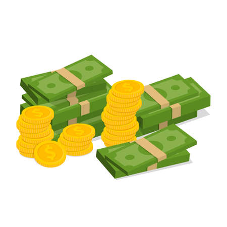 Concept of big money. Big pile of cash. Hundreds of dollars. Vector illustration. Eps 10. Ilustração