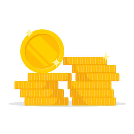 Stack of coins. Pile of gold coins. Golden penny cash pile, treasure heap. Vector illustration. Eps 10. Ilustração