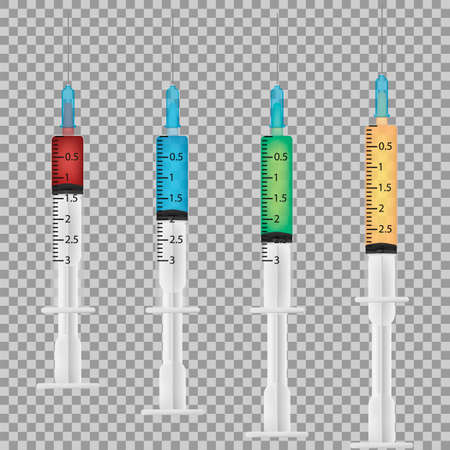Set of realistic medical disposable syringe with needle. Applicable for vaccine injection, vaccination. Vector illustration. Eps 10