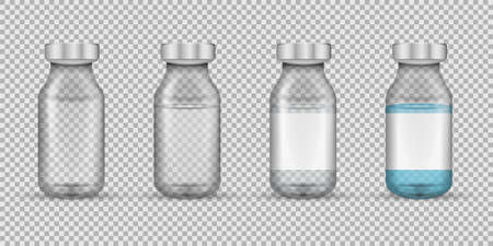 Set of transparent glass medical vials. Vector illustration. Eps 10.