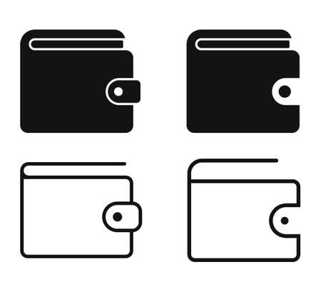 Set of Wallet icon. Wallet Line sign.