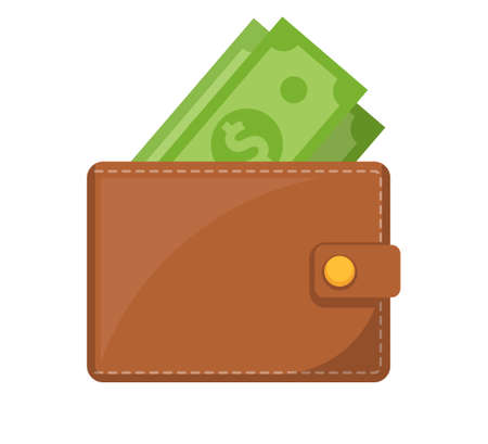 Wallet icon. Brown wallet with green paper money. Wallet with money dollar bank note.