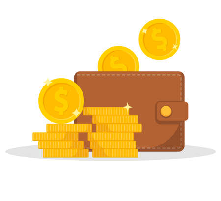 Wallet icon. Wallet and stack of coin. Cash back icon with coins and wallet.