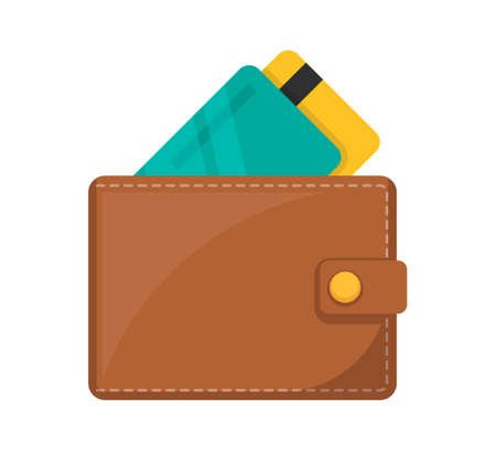 Wallet icon. Wallet with bank cards. 向量圖像