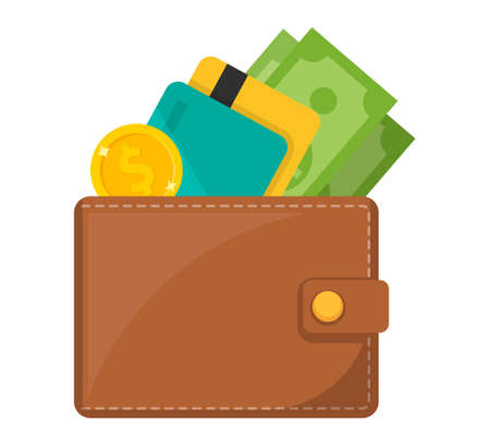 Wallet icon. Wallet with card and cash. 向量圖像