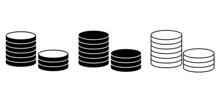 Outline coins icon. Money stacked coins icon.