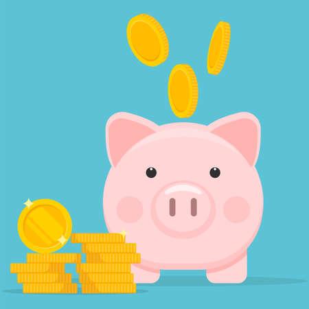 Piggy bank and coins icon. Save money concept.