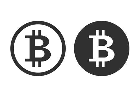Bitcoin icon. Crypto currency, virtual electronic, internet money.