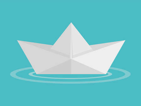 Paper boat origami on water wave icon. Vector illustration. Eps 10. 向量圖像