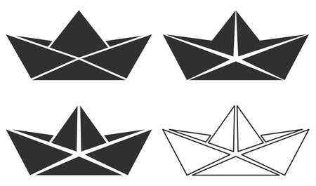 Set of folded paper boat icon. Vector illustration.