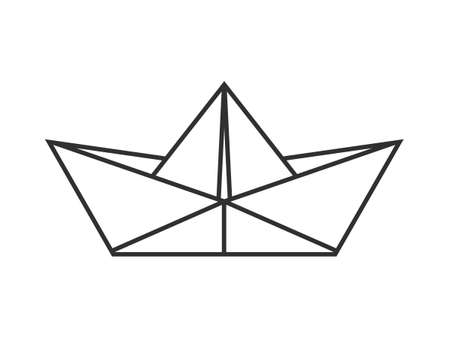 Folded paper boat icon. Vector illustration.