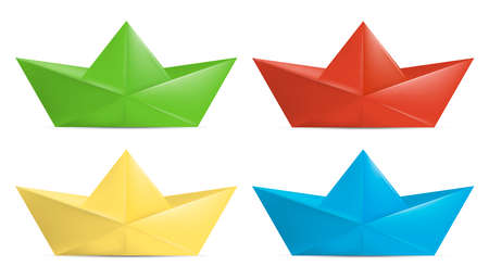 Set of color folded paper boat. Vector illustration. Eps 10.