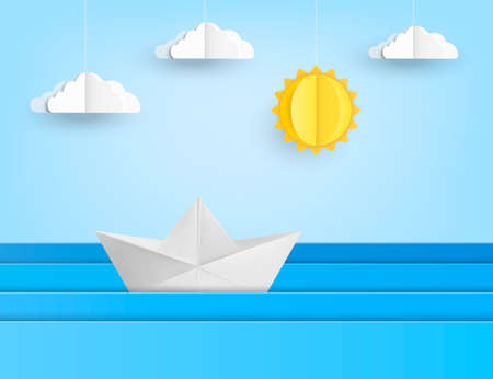 Origami boat sailing in blue ocean, paper art style. Vector illustration. Eps 10. 向量圖像