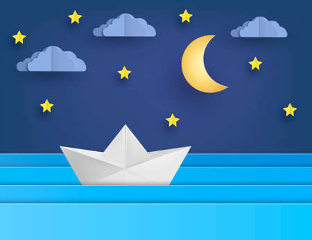 Origami boat sailing in blue ocean, paper art style. Vector illustration. 向量圖像