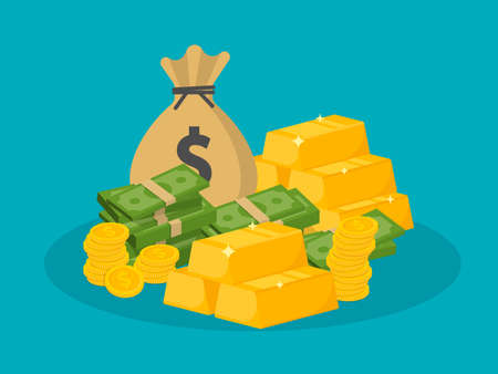 Pile of money and a bag of coins. Wealth concept. Gold bars icon. Vector illustration. Eps 10.