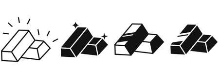 Set of gold bar icons. Business Trading Finance. Gold bars or ingot. Vector illustration. 向量圖像