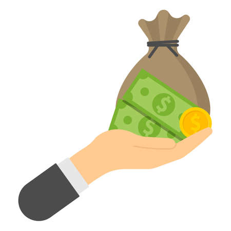 hand with money bag bill and coin finance icons. Vector illustration. Eps 10. 向量圖像