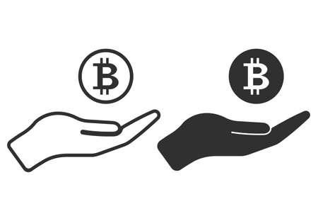 Pictograph of money in hand. Save money icon. Bitcoin icon. Vector illustration.