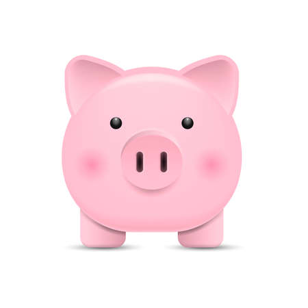 Front view. Pink piggy bank isolated on white background. Vector illustration. Eps 10. 向量圖像