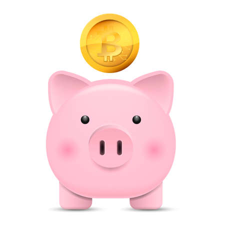 Front view. Pink piggy bank and coin. Vector illustration. Eps 10.