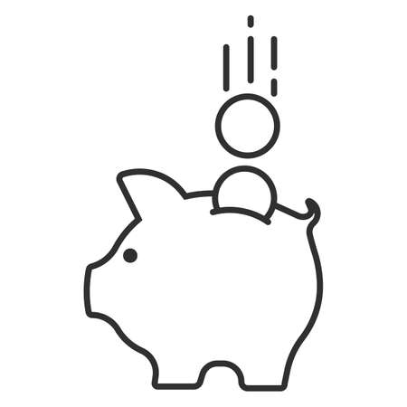 Piggy bank with coin. Money saving, economy, investment, banking or business services concept. Vector illustration.