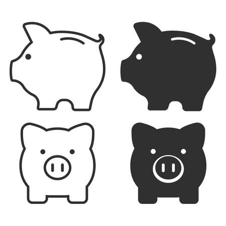Set of piggy bank icon. Money saving, economy, investment, banking or business services concept. Vector illustration. Eps 10. 向量圖像
