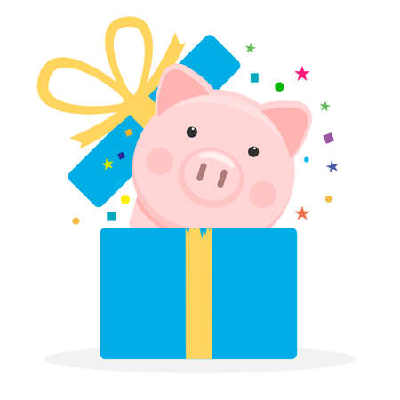Pig in present box icon isolated on white background. Vector illustration.