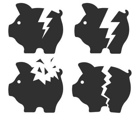 Broken piggy bank icon. Vector illustration.