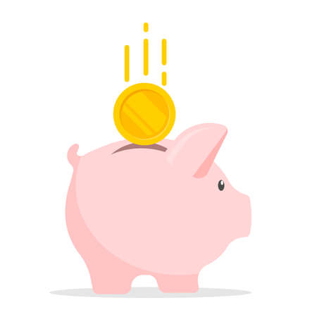 Piggy bank with coin. Money saving, economy, investment, banking or business services concept. Vector illustration. Eps 10.
