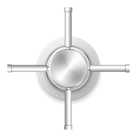 Safe handle wheel. Rotary valve is safe lock isolated on white background. Vector illustration.