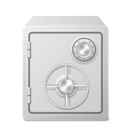 Metal Safe Bank Box Realistic isolated on white background. Vector illustration.