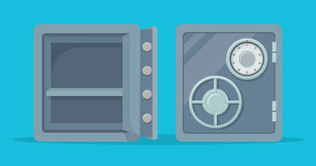 Metal safe with opened and closed door. Vector illustration.