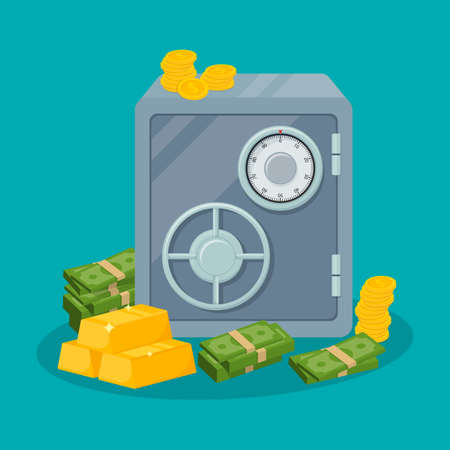 Safe box with money savings dollar coins banknotes. Cash protection concept. Gold bars icon. Vector illustration. Eps 10. 向量圖像